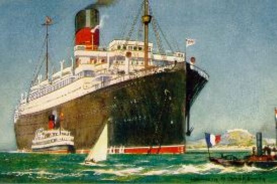 """A postcard view of the British ocean liner """"RMS Andania"""" of the Cunard Line"""